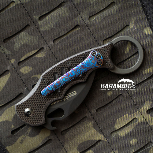 Custom Timascus 3 Hole Pattern Blue Style 1 Pocket Clip for Fox and Emerson (Style1TimaClip)