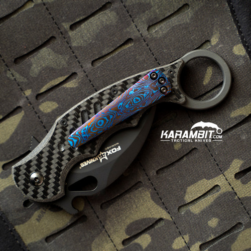 Custom Timascus 3 Hole Pattern Blue Style 3 Pocket Clip for Fox and Emerson (Style3TimaClip)