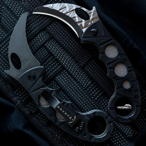 "Pimped out Emerson Combat Carved Blade Folding Karambit w/Reinforced Tip (2.6"") (PimpEMR-KAR-BT)"