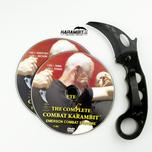 Emerson Black Combat Karambit + DVD - 2 in 1 Package (EmersonBlkKbit+Dvd)