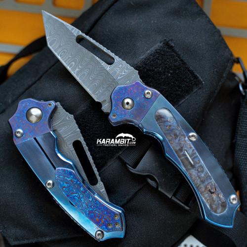 James Coogler's Damascus Kuma Folding Tanto Prototype (CooglerDamKumaTanto)