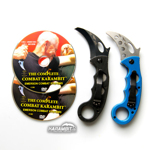 Emerson Black Folding Combat Karambit + Trainer + DVD - 3 in 1 Package (EmersonBlkKbit+EmrsnTrnr+DVD)