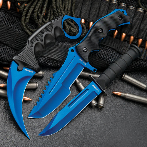 Blue Fixed Blade Knife Set (17 BV391)