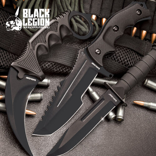 MTech Black Fixed Blade Knife Set | Karambit, Huntsman & Combat (17 BV445)