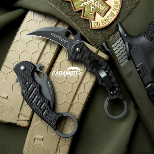 Fox 599 Black G10 Folding Karambit - Emerson Wave (FX599)