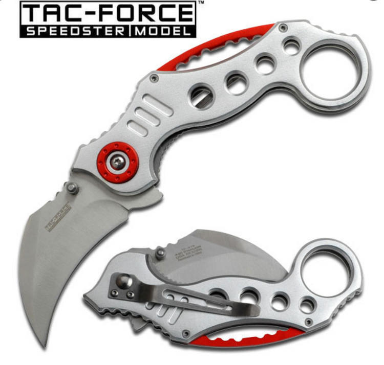 Tac Force Liner Lock Assisted Opening Silver and Red Combat Karambit