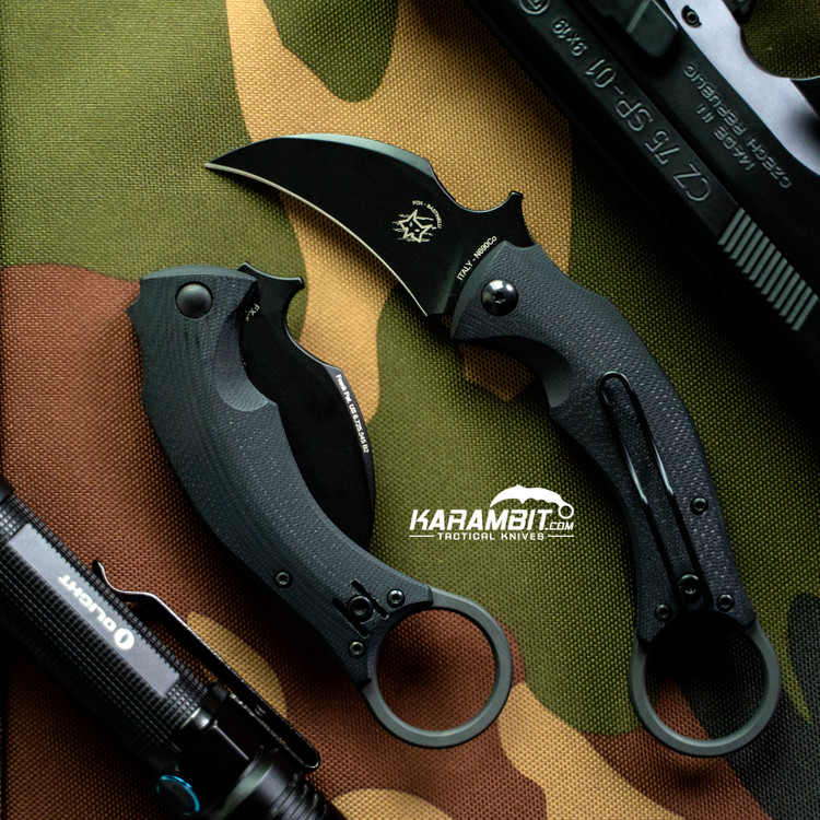 Fox Bastinelli Black Bird Folding Karambit - Emerson Wave (BAS210B)