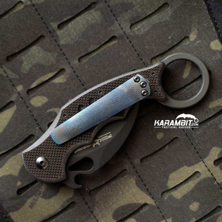 Custom Titanium 3 Hole Pattern Dark Blue Pocket Clip for Fox and Emerson (DrkBlueTiClip)