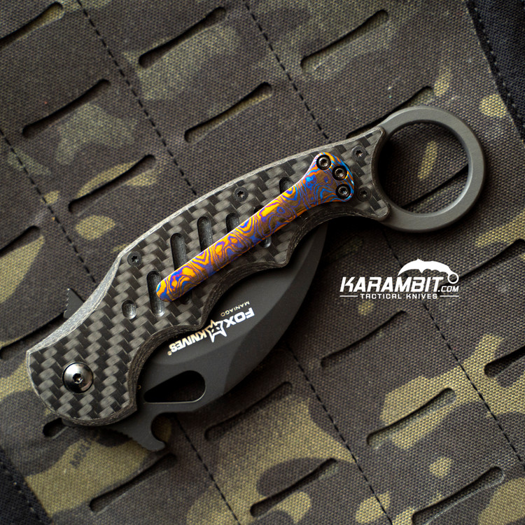 Custom Timascus 3 Hole Pattern Blue and Bronze Pocket Clip for Fox and Emerson (BluBrnzTimaClip)