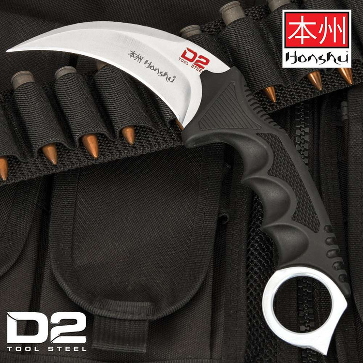 Honshu Silver D2 Karambit w/Shoulder Harness (UC2977D2)