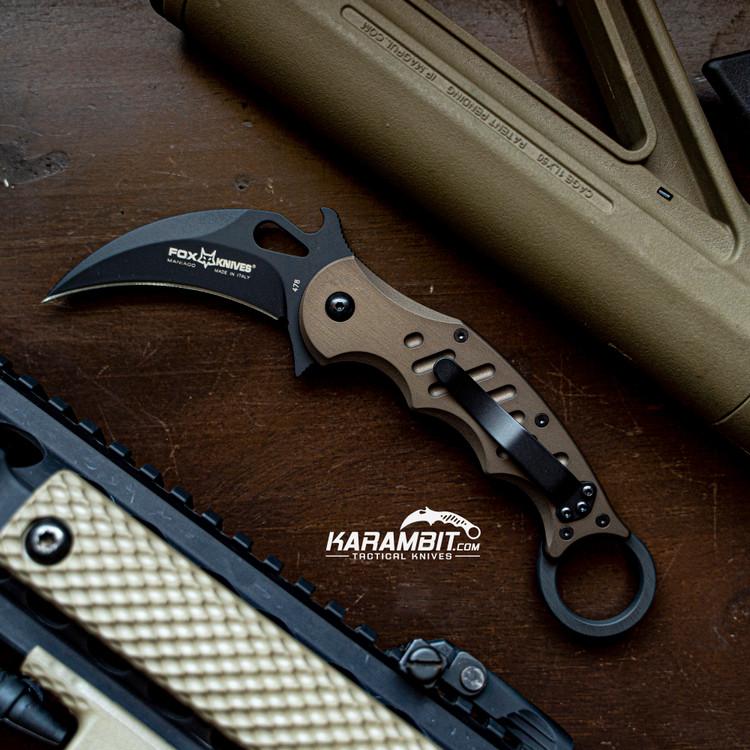 Fox 478 Brown Aluminum Folding Karambit - Emerson Wave (FOX478BR)