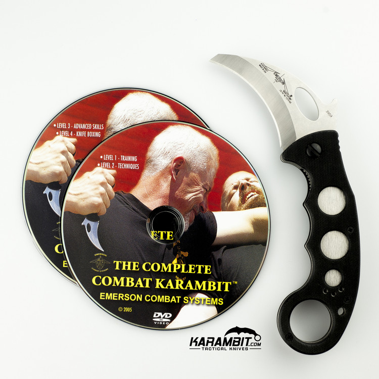 Emerson Stonewashed Combat Karambit + DVD - 2 in 1 Package (EmersonSWKbit+Dvd)