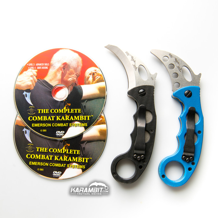 Emerson Stonewashed Folding Combat Karambit + Trainer + DVD - 3 in 1 Package (EmersonSWKbit+EmrsnTrnr+DVD)