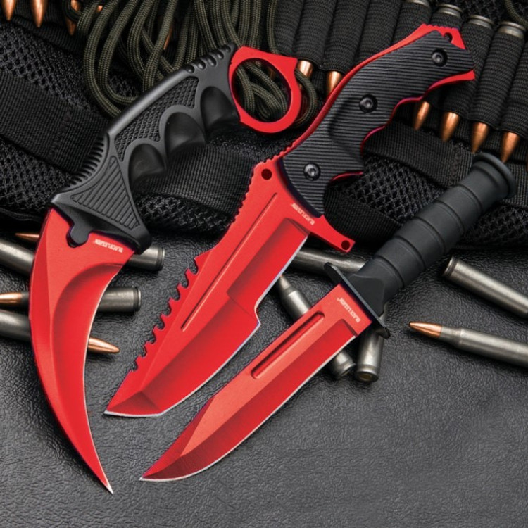 Red Fixed Blade Knife Set (17 BV448)