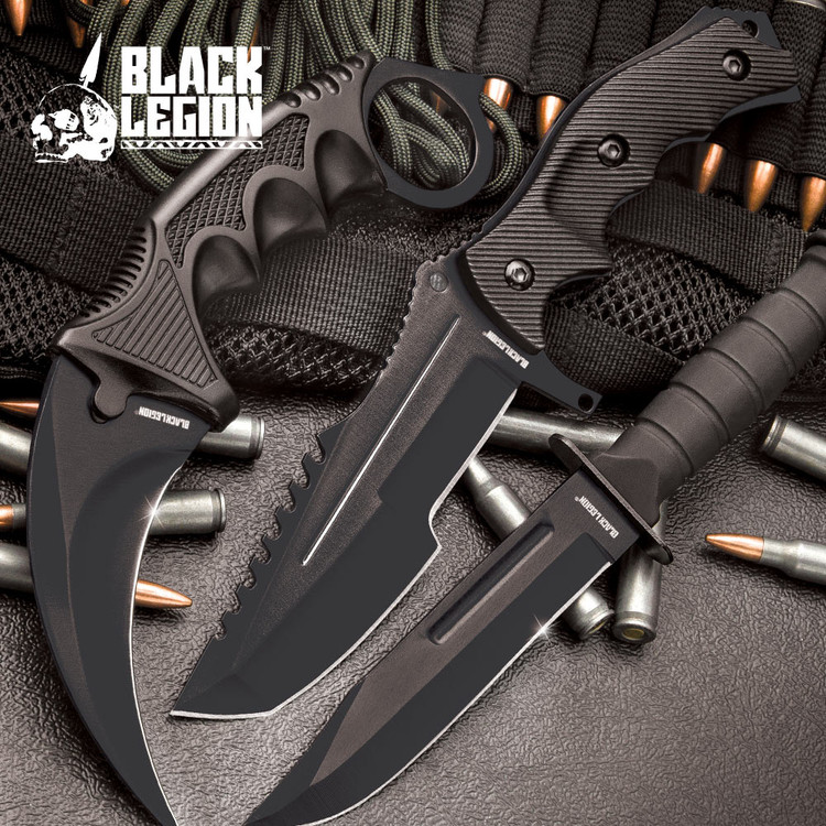 Black Fixed Blade Knife Set (17 BV445)