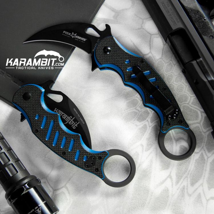 Fox 479 Black Blue G10 Folding Karambit - Emerson Wave (FX479BB)