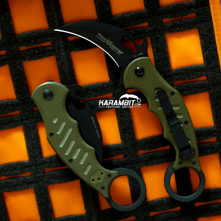 Fox 599 OD Green G10 Folding Karambit - Emerson Wave (FX599OD)
