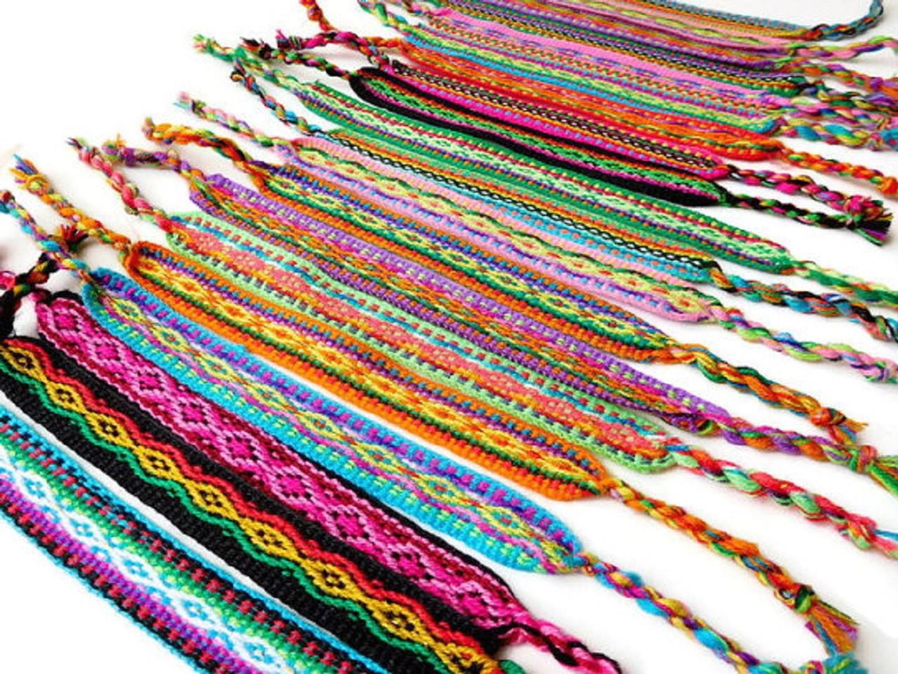Pack 50 Friendship Bracelets Inca Fabric bracelet Peruvian Rainbow Cotton Pack