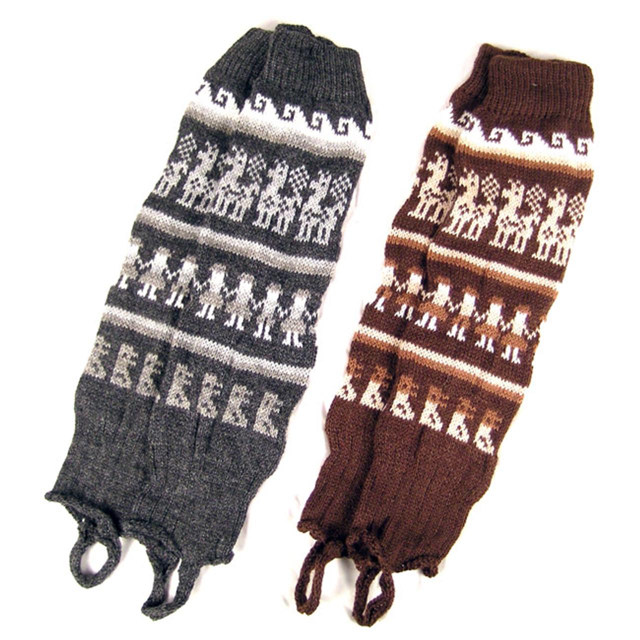 Fair Trade Unisex Bolivian Soft Alpaca Woollen Wool Legwarmers for Man or Woman