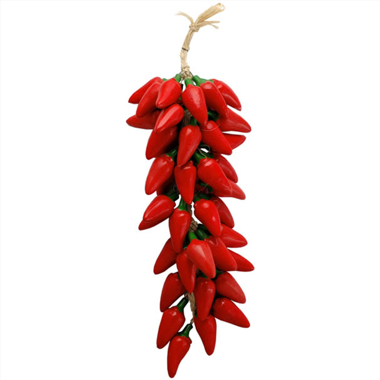 Braided Strand of 16 Artificial Red Peppers Fake Peppers Southwest Style