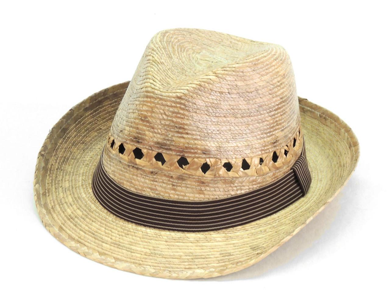 2de3d7461d788 Denison Palm Straw Hat with Band Fine Brim Adjustable - Sanyork Fair Trade