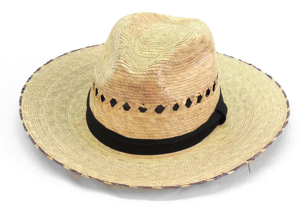 1ec7502a4e0d6 Showdown Palm Straw Hat with Band Medium Brim Adjustable - Sanyork Fair  Trade