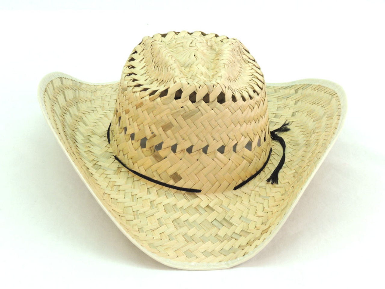 03a2e48c248b8 Raffia Palm Straw Hat with Roped Band Tall Crown Adjustable ...