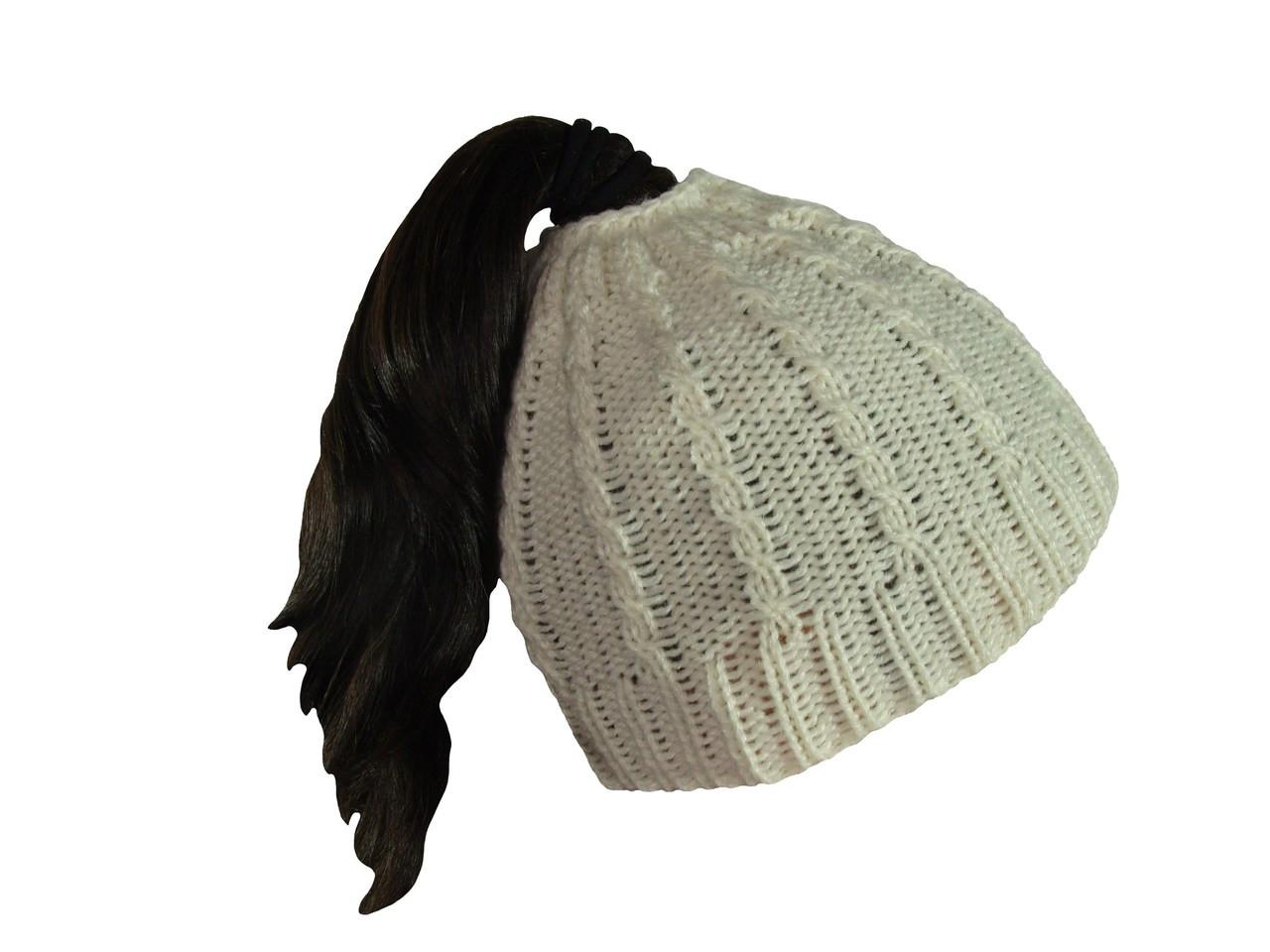 e19b846697639 Crochet Beanie 100% Alpaca Messy Bun or High Ponytail Look Chilly Days ...