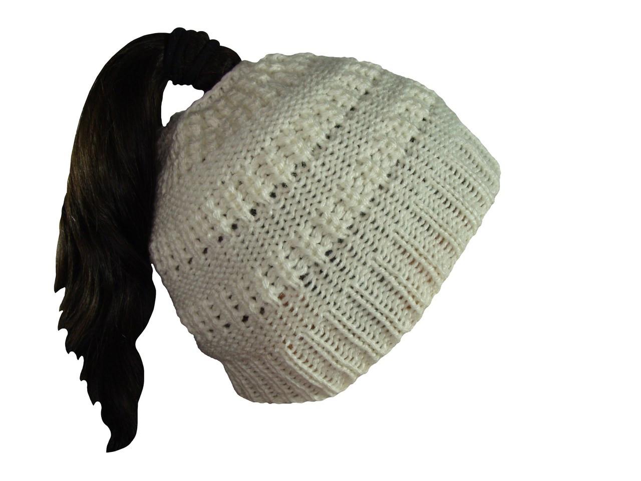 3811dd1b36e35 ... Ponytail Messy Bun Knitted Ponytail Winter Beanie Crocheted in 100%  Alpaca