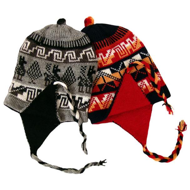 Alpaca Knit Blend Reversible Chullo Hat Ski Cap