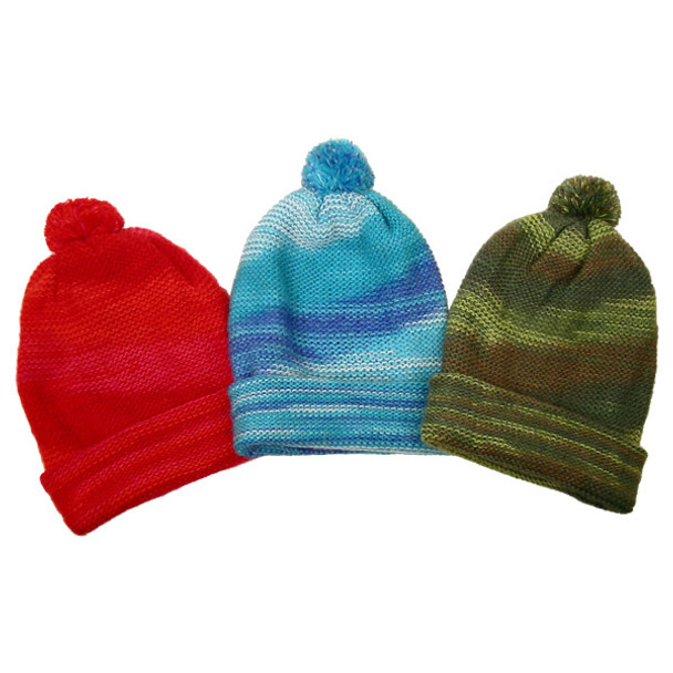 Colorblend Alpaca Beanie Hat with PomPom Multicolored Assortment