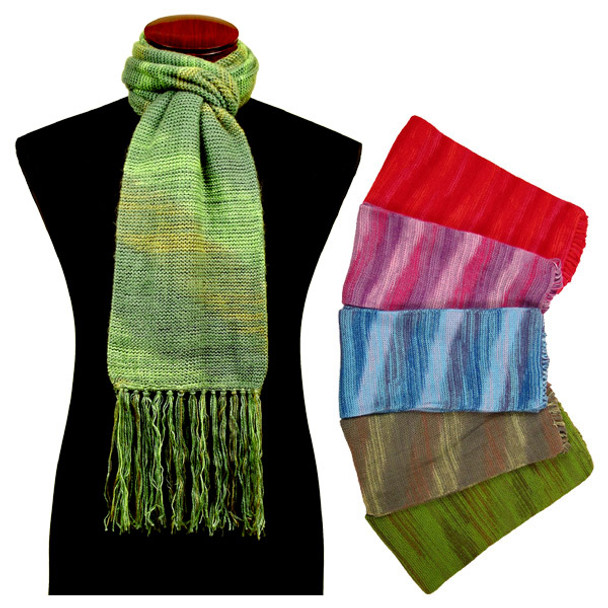"""Hand Knit Color Blend Alpaca Knit Scarf 10"""" x 74"""" Assorted"""