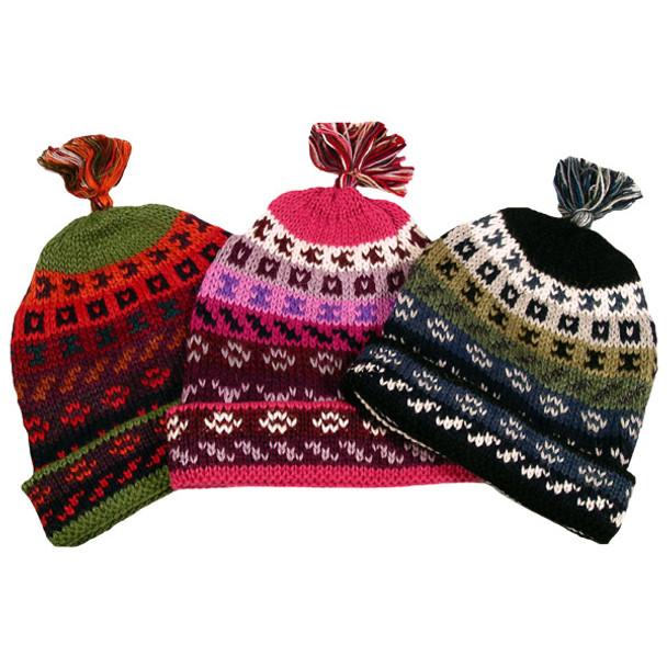 59dd3dbacc7ab8 100% Alpaca Striped/Geometric Beanie Hat Lined Fleece Adult ...
