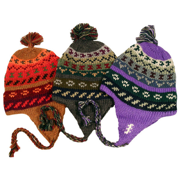 Alpaca Wool Striped/Geometric Chullo Hat One Size Adult Assorted Colors