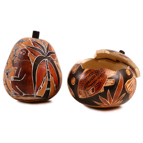 "Gourd Box - Animal Designs 5"" Burned Colors"