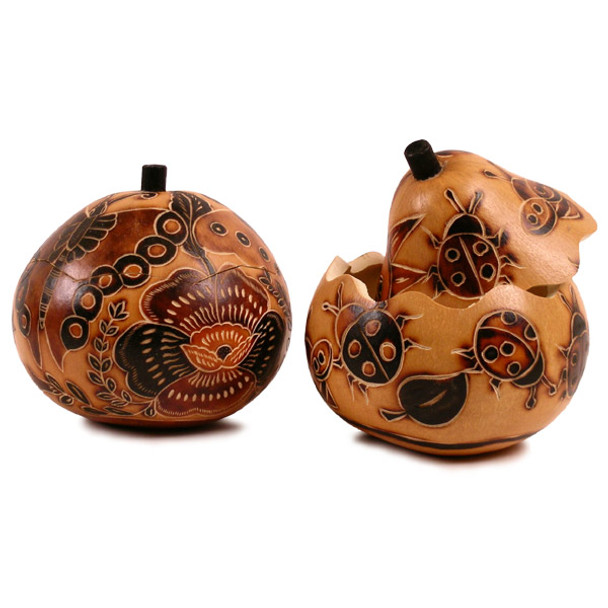 Gourd Carved Box Natural Colors with Nature Carved and Burnt Designs