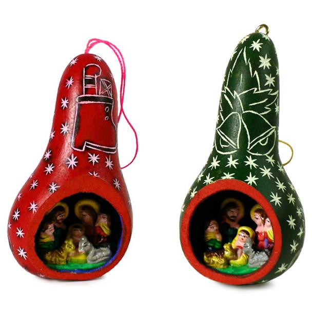 Gourd Nativity Ornament w/ Stars Colors