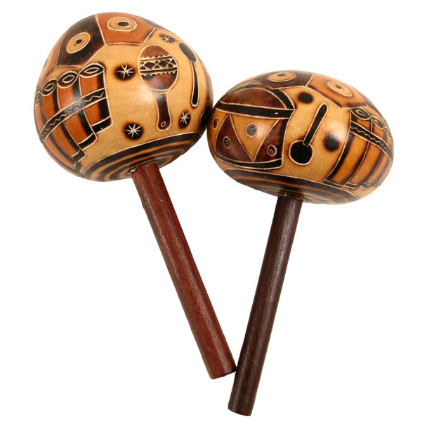 Maraca Single with Stick Handle Musical Instruments Geometric Classical Designs