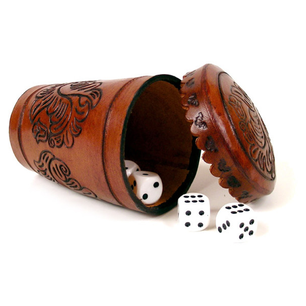 Leather Dice Cup Shuffle Hand Tooled Peru