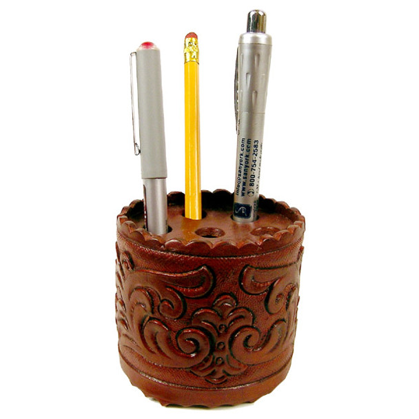 """Leather Pen Holder Hand Tooled 4"""""""