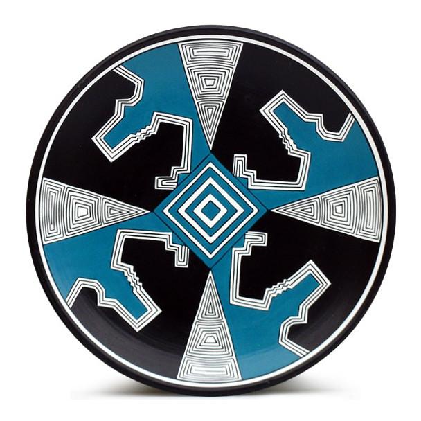 Spiral Mimbres Plate - PowdBlue