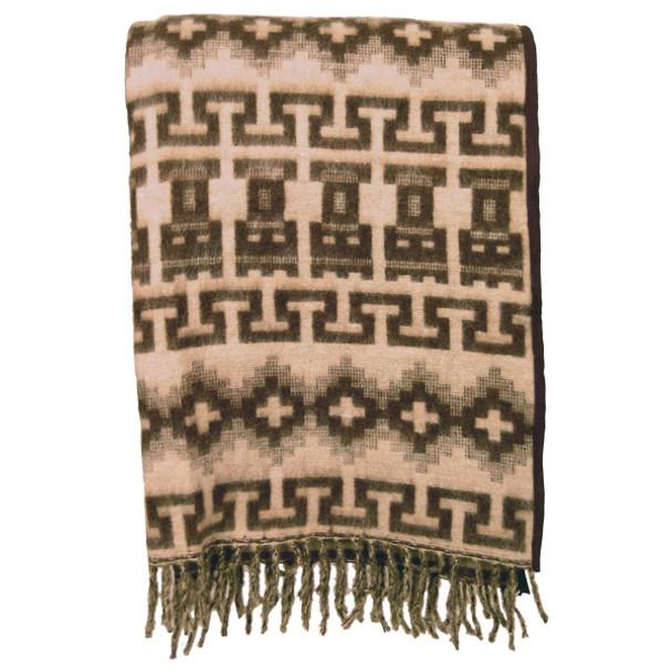 Brushed Alpaca Geometric Blanket - Brown Natural Colors