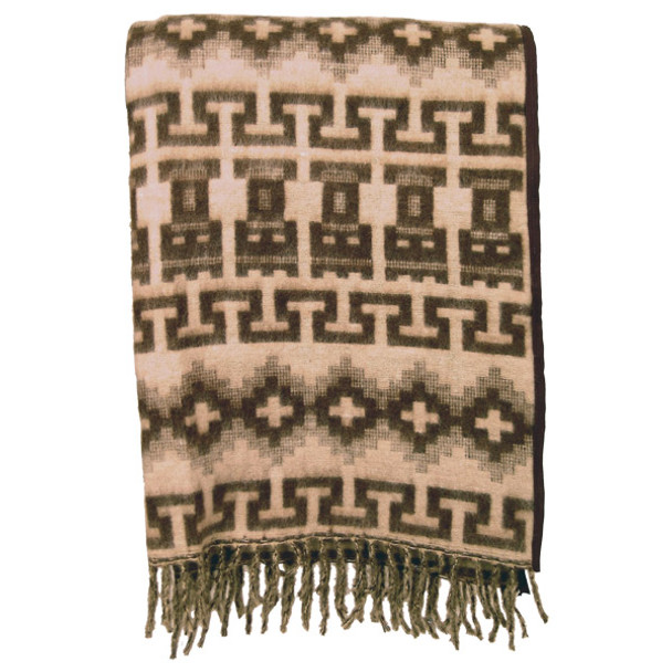 Brushed Alpaca Geometric Blanket - Brown Natural Colors