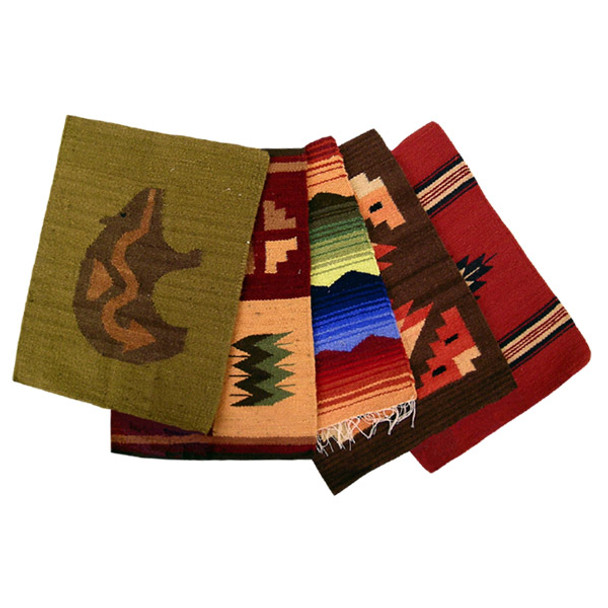 """100% Wool 12"""" x 16"""" Place Mats in Assorted Designs and Colors Hand Made"""