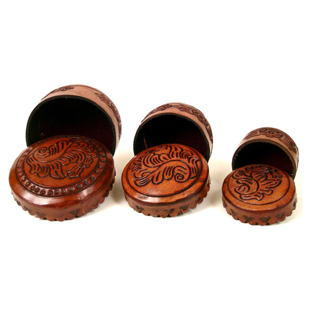 Leather 3-in-1 Box - Round Leaves Pattern Western Designs