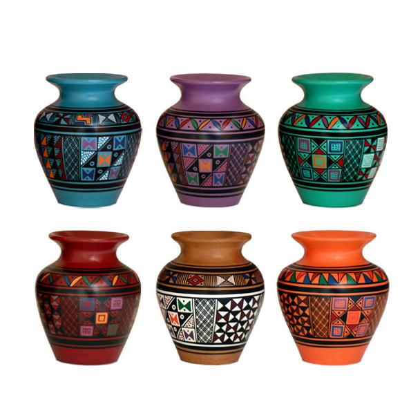 """Pisac Mini Vase 5"""" Signed Originals Assorted Colors Fine Detail"""