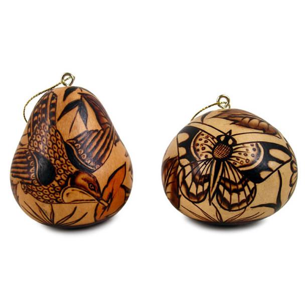 "Gourd Fine Burned Carved Nature Ornaments 3"""