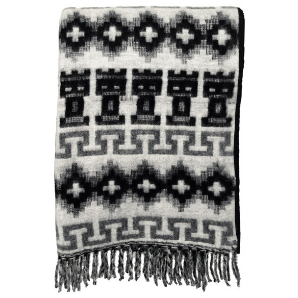 "Brushed Alpaca Geometric Blanket 60"" x 84"" - Black/Gray Fringed Home Accent"