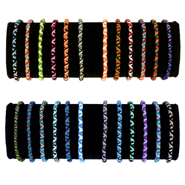 Friendship Bracelets Roped Tube Bag of 50 Assorted Wholesale Pack Lot Peru