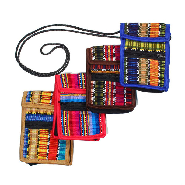 Hand Woven Cell Phone Bag Credit Card Pouch 100% Cotton